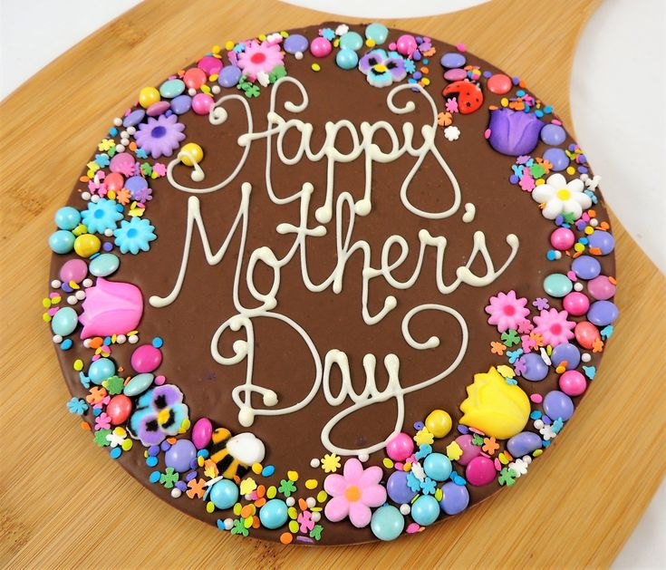 Happy mothers day chocolate pizza summer garden border