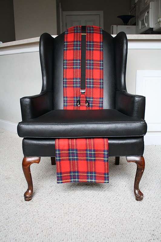 Plaid throw and suspenders jazz up a chair for a preppy for Paint office chair