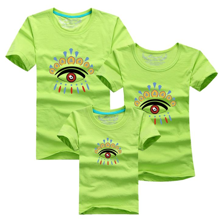 Ming Di Dad Mom Daughter Son Suits 2017 Family Matching Sport Clothing Family Look Cartoon Big Eyes T shirt Children T shirts