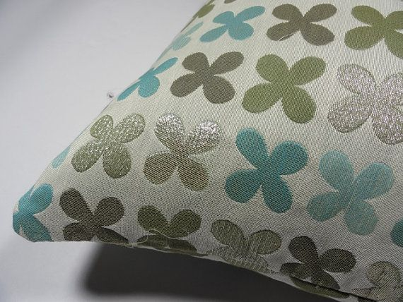 "Quatrefoil by Alexander Girard, 1954  Silver Maharam Fabric - Pillow 17"" x 17"" feather insert included"
