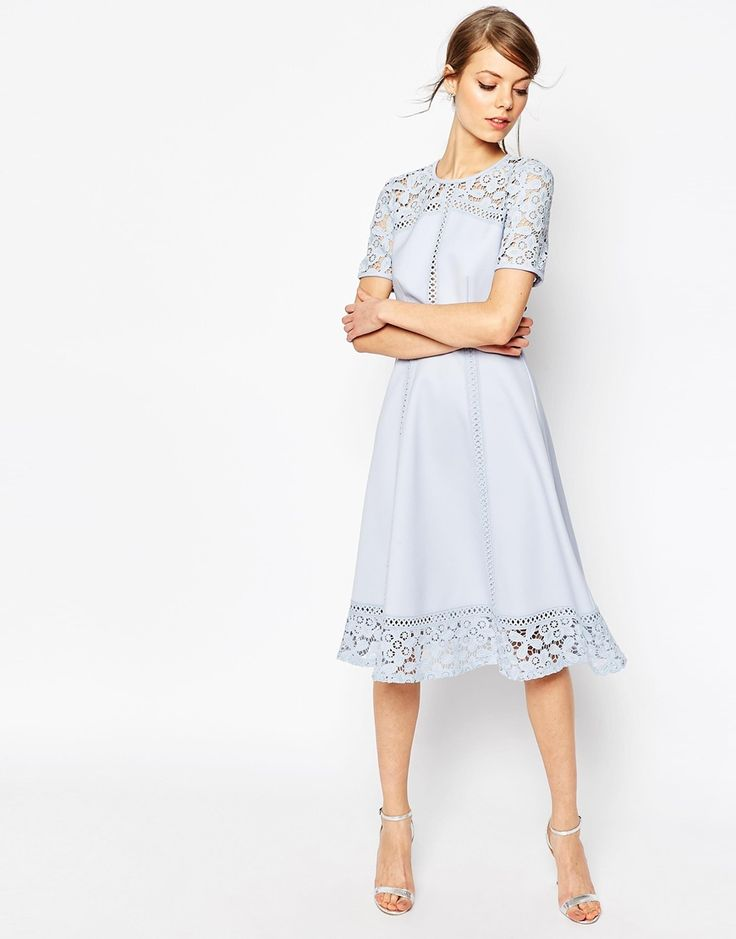 Image 1 of ASOS Premium Lace Insert Full Midi Dress