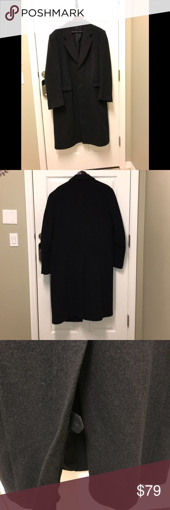 Men's Cashmere Wool Over Coat Men's Nino Cerruti quality Cashmere Wool blend over coat. Charcoal Gray. black lining. Great condition. One broken button on cuff. Made in Brazil. Dry Clean. Nino Cerruti Jackets & Coats