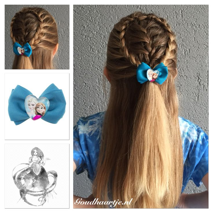 Halfup hairstyle with a cute Frozen bow from Goudhaartje.nl #frenchbraid #braid…