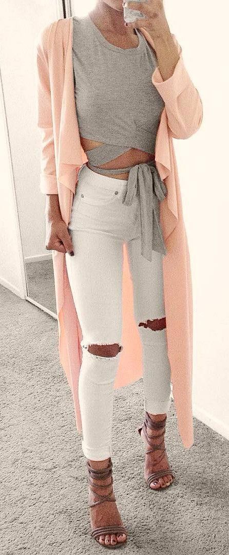#summer #outfits Pink Maxi Kimono + White Destroyed Skinny Jeans + Grey Sandals + Grey Bow Top