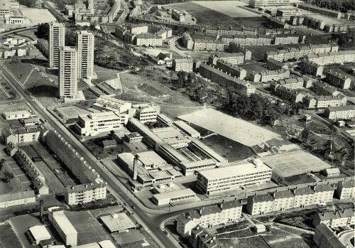 St Margaret Mary's Secondary and Dougrie Flats, Castlemilk, Glasgow (June 1972)