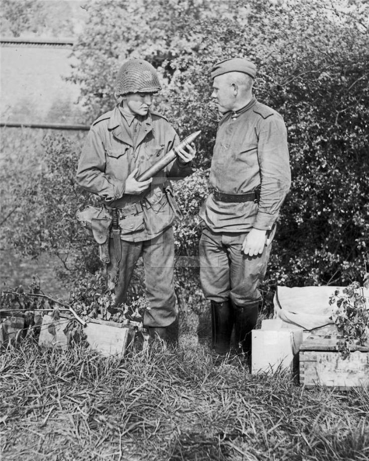 Russian & American Army Soldiers Meet Torgau Germany