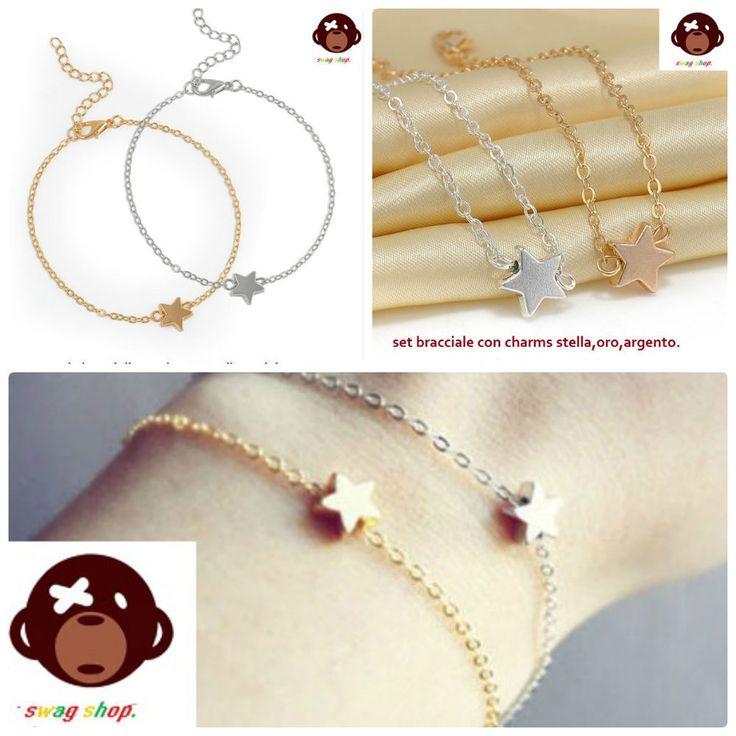 Set bracciali con charms,ciondolo pendente stella,color oro argento,acciaio 316L