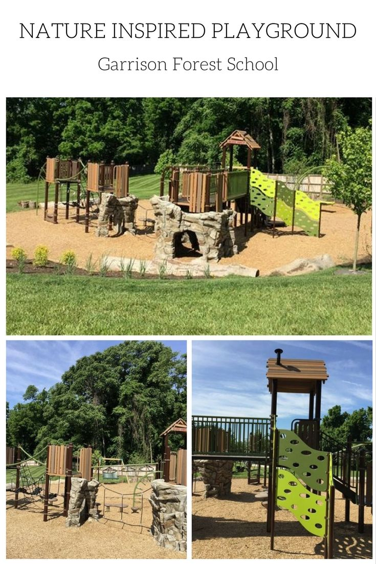 Nature inspired playground featuring the Canyon Collection by Landscape Structures. This beautiful playground at the Garrison Forest School provides a fun and challenging play structure for elementary school-aged students. See more images https://www.sparksatplay.com/portfolio/garrison-forest