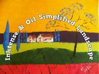 A Pretty Talent Blog: Paint A Simplified Landscape In Inktense & Oils