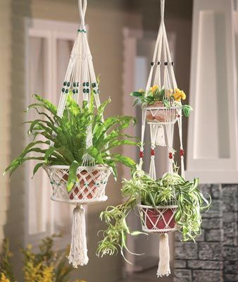 Macrame Hanging Plant Holders | Piece Macrame Plant Hanger Set from Collections Etc.
