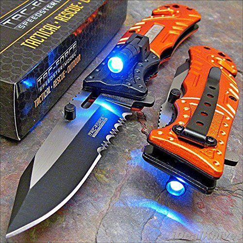 Tac Force Orange EMT LED Tactical Rescue Pocket Knife NEW