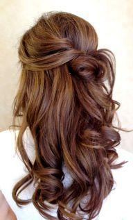 Color - Bride's half up twist with long curls bridal hair ideas Toni Kami Wedding Hairstyles ♥❸  Perfection! Bridesmaid homecoming hair ideas