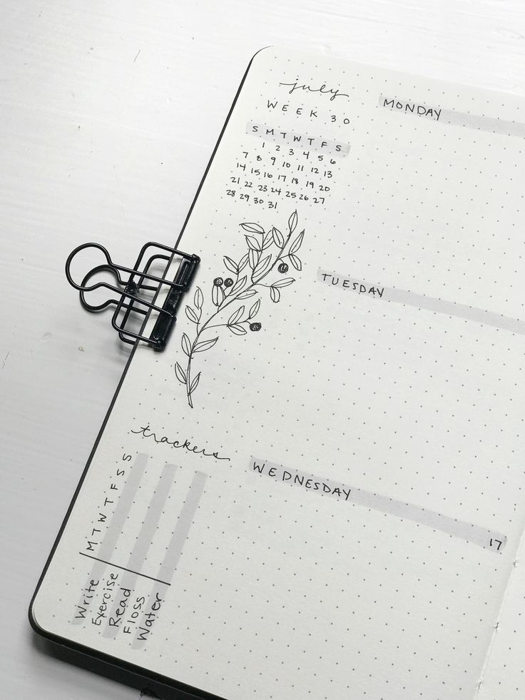 Minimalist bullet journal weekly spread up close a…