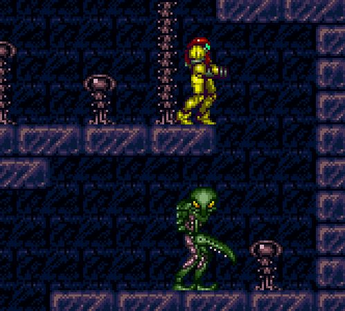 Early occurrence of 4th wall break? Why would it look around? It's looking at the screen....Super Metroid, SNES.