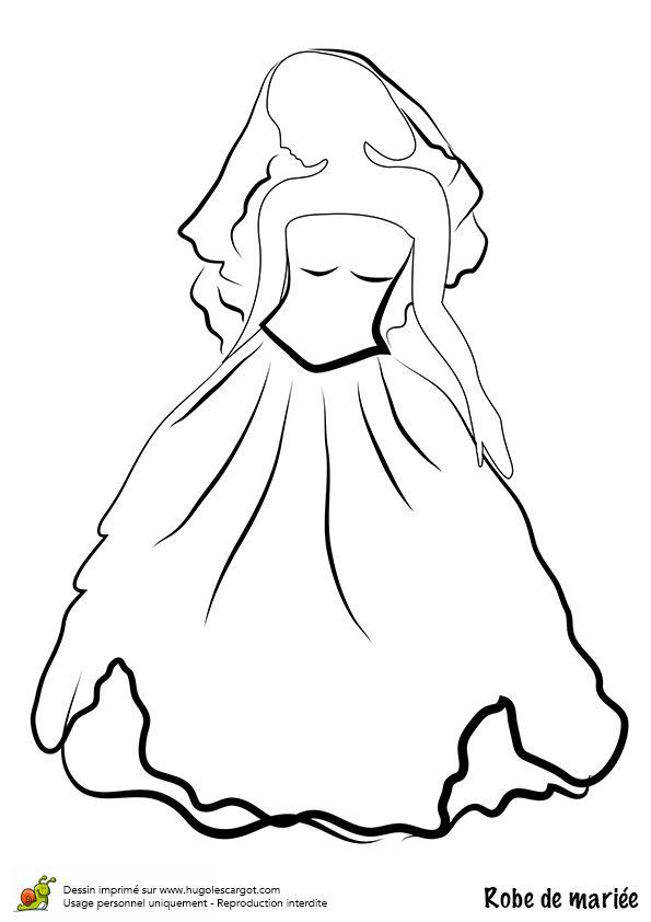 dessincoloriage robe de marie bustier et jupe ample