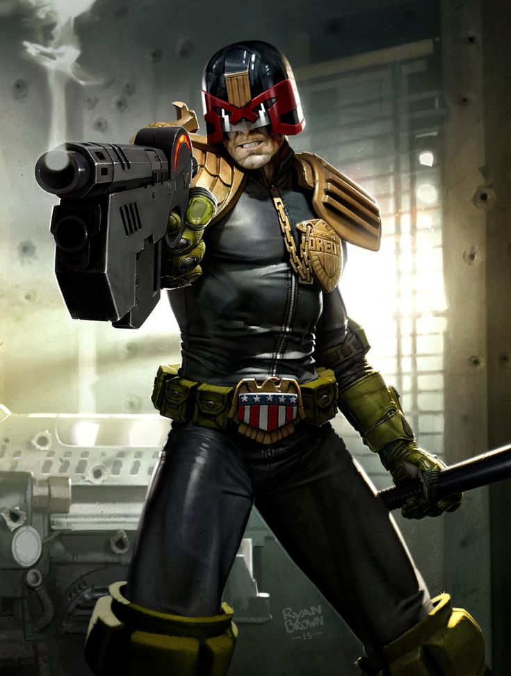 Dredd  2000ad prog 1929 cover by ryanbrown-colour Judge gun police officer fighter helmet helm armor clothes clothing fashion player character npc | Create your own roleplaying game material w/ RPG Bard: www.rpgbard.com | Writing inspiration for Dungeons and Dragons DND D&D Pathfinder PFRPG Warhammer 40k Star Wars Shadowrun Call of Cthulhu Lord of the Rings LoTR + d20 fantasy science fiction scifi horror design | Not Trusty Sword art: click artwork for source