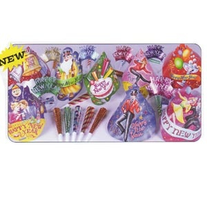 Jubilee Party Kit for 50 people. Includes 25 full size Air Brushed Hats   25 Happy New Year Tiaras   50 Printed Foil Horns