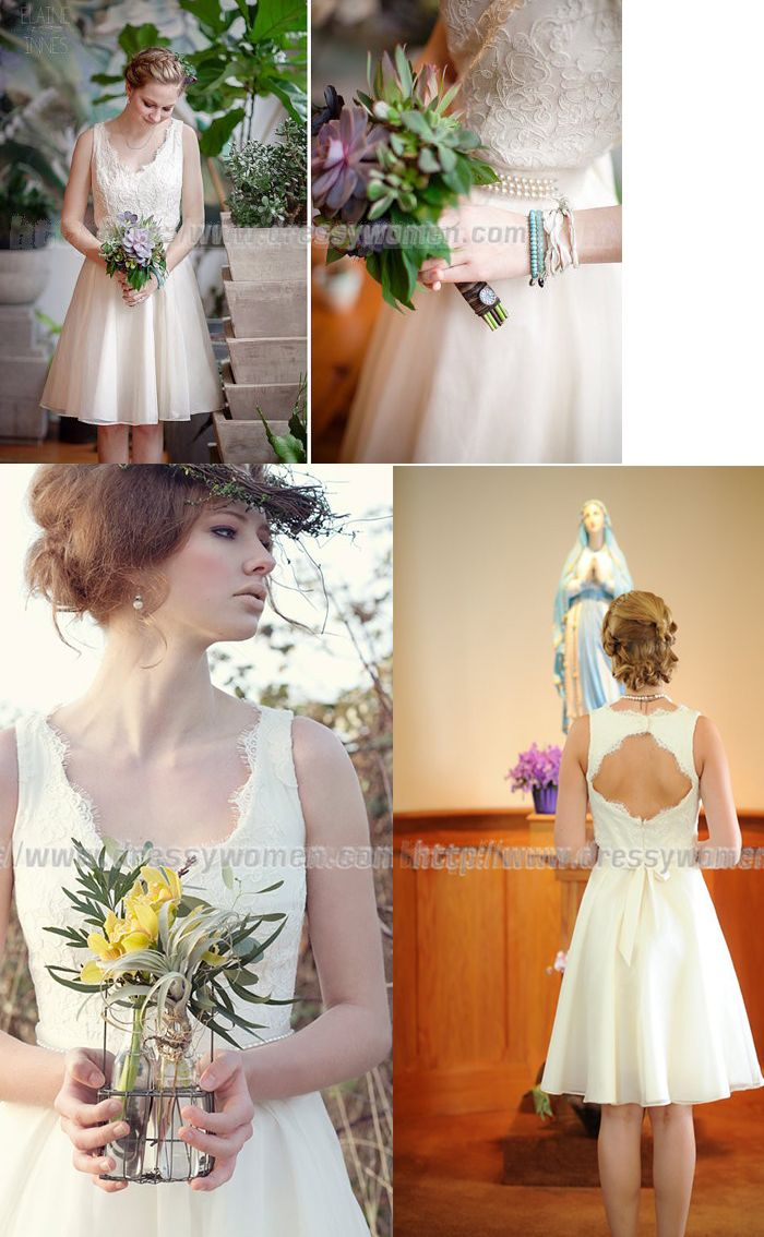 Short V-neck A-line Wedding Dress with Peals on the Waist,Short V-neck A-line Wedding Dress with Peals on the Waist,Short V-neck A-line Wedding Dress with Peals on the Waist