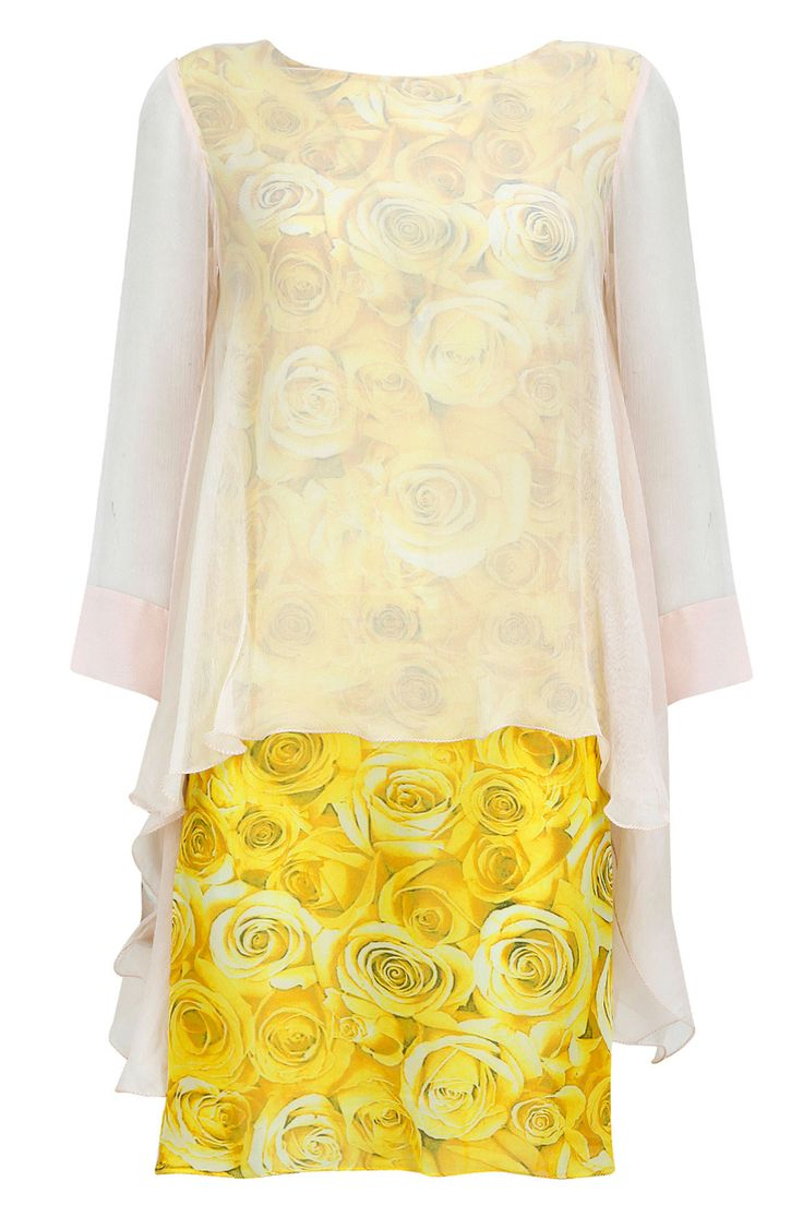 Yellow rose print dress with pale pink overlaped top available only at Pernia's Pop-Up Shop.