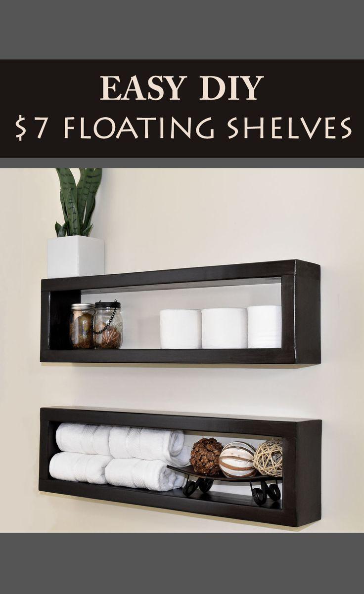How to make a 7 floating shelf diy shelving simple diy for Cheap floating shelves