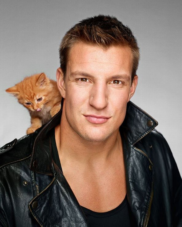 Break the Internet Attempt of the Day: Gronk Poses Shirtless with Kittens