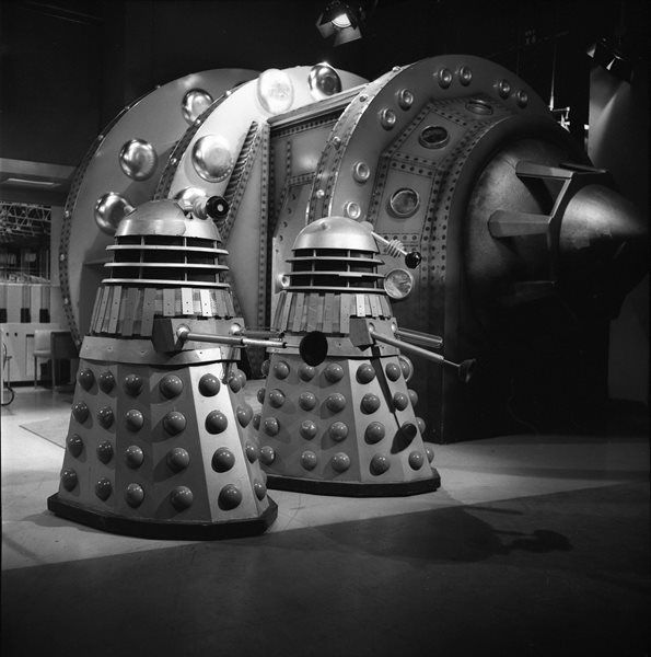 Doctor Who: exclusive behind the scenes look at The Power of the Daleks – Patrick Troughton's first episode | This image of two Daleks was used in a montage for the Radio Times cover. Shot number RT 3700 54. | Photographed by Don Smith