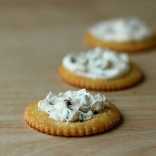 Chive and black garlic cream cheese spread. Full recipe at http://www.cookistry.com/2013/11/chive-and-black-garlic-cream-cheese.html