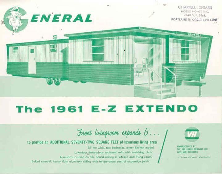 1961 General EZ Extendo Mobile Home Brochure R620 BOXDMC