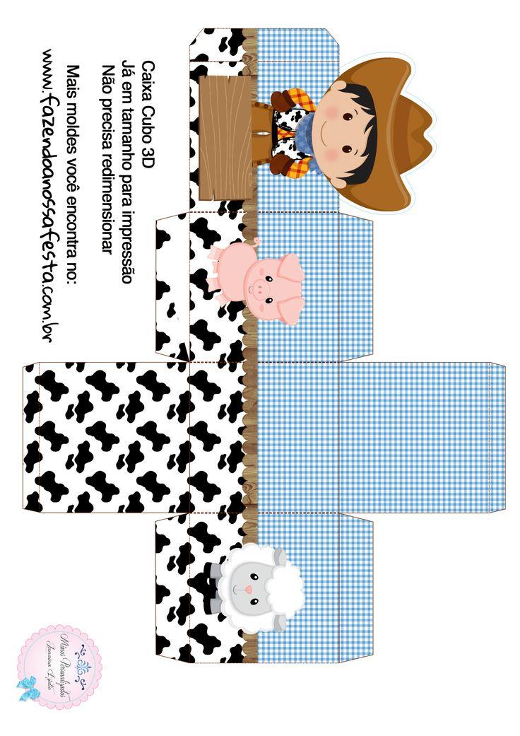 Caixa Cubo 3D Fazendinha Menino