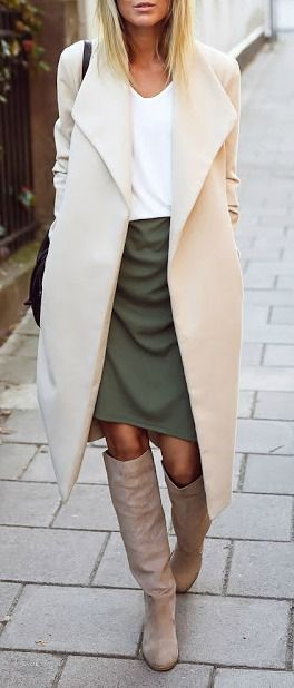 fall fashion / cream coat + olive green skirt