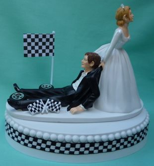 Wedding Cake Topper - Checkered Flag Auto Car Racing Humorous Themed