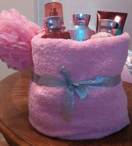 Baby shower prize. Bath & Body Velvet Sugar in a towel basket.