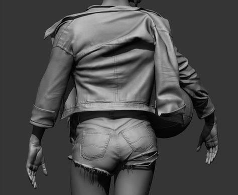 model was done in Zbrush clothes were made in marvelous designer and resculpted afterwards in Zbrush rendered out using Zbrush's defualt render  #marvelousdesigner #zbrush #3dsculpture #3dArt #girl # basketballgirl #clothes #shorts #figure #body #bottom