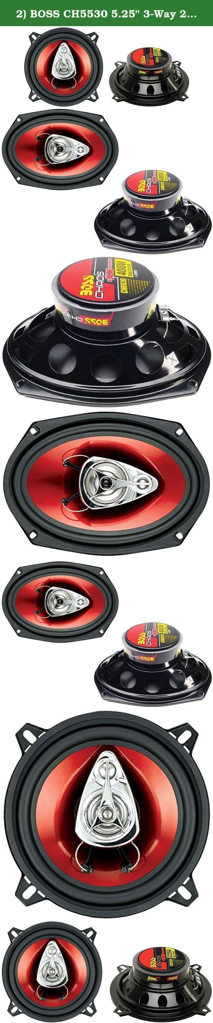 "2) BOSS CH5530 5.25"" 3-Way 225W + Boss CH6930 6x9"" 3-Way 400W Car Audio Speakers. Package Includes: Boss CH5530 5.25"" 225W 3-Way Car Speakers (1 pair) Boss CH6930 6x9"" 400W 3-Way Car Speakers (1 pair) ----- The Boss CH5530 5.25"" 3-Way 225W CHAOS Car Audio Stereo Speakers can handle 225 Watts of MAX power per pair, and 125 Watts of RMS power per pair. They feature a 1"" high-temperature aluminum voice coil, a poly injected cone with foam surround and a stamped steel basket. Upgrade your..."