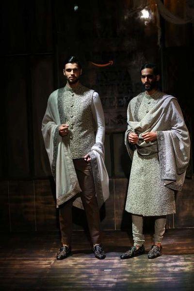 khadi, olive green, self embroidered, jodhpurs, stole, vintage, pista, mint sabyasachi amazon india couture week 2015 bater collection