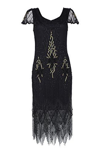 8c37b65ca36afe New gatsbylady london Annette Vintage Inspired Fringe Flapper Dress in  Black Gold online. [$115.7] from top store offerdressforyou