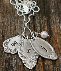 Eclectic spoon charm necklace from the Vintage Pearl- oh my gosh. I want this with mine and Keith's initials.