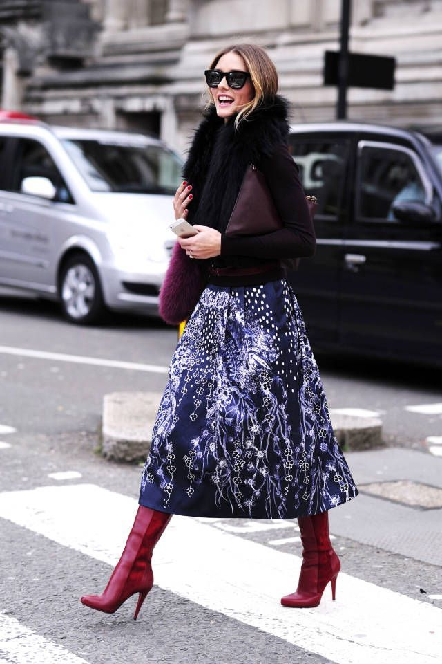 olivia palermo midi skirt and red boots