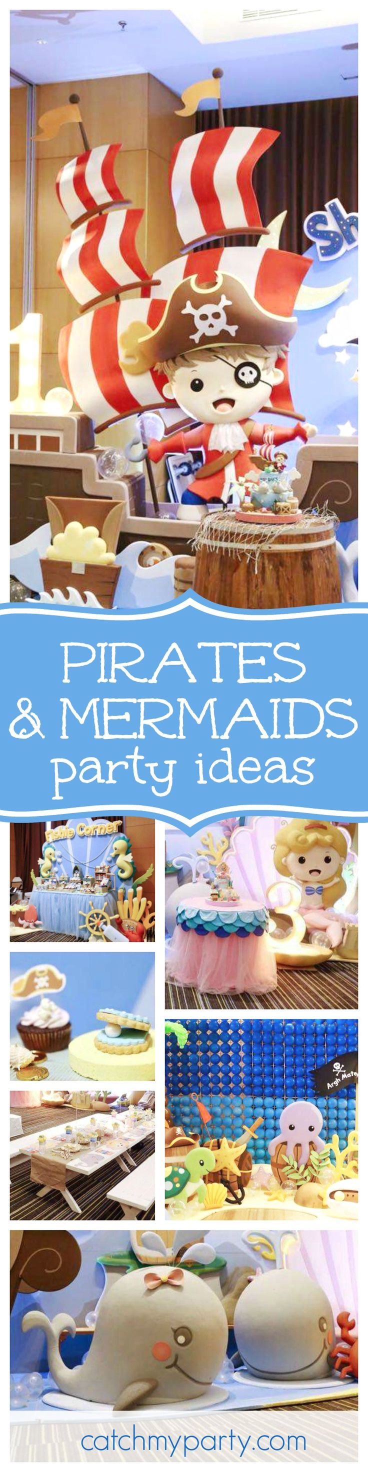 Take a look at this fantastic Pirates & Mermaids 1st Birthday party. The birthday cake is out of this world!! See more party ideas and share yours at CatchMyParty.com