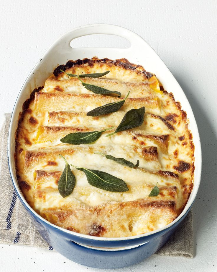 Squash, Sage, and Ricotta Cannelloni | Martha Stewart Living - Delicious and convenient, this baked-pasta dish is an irresistible all-in-one dinner.