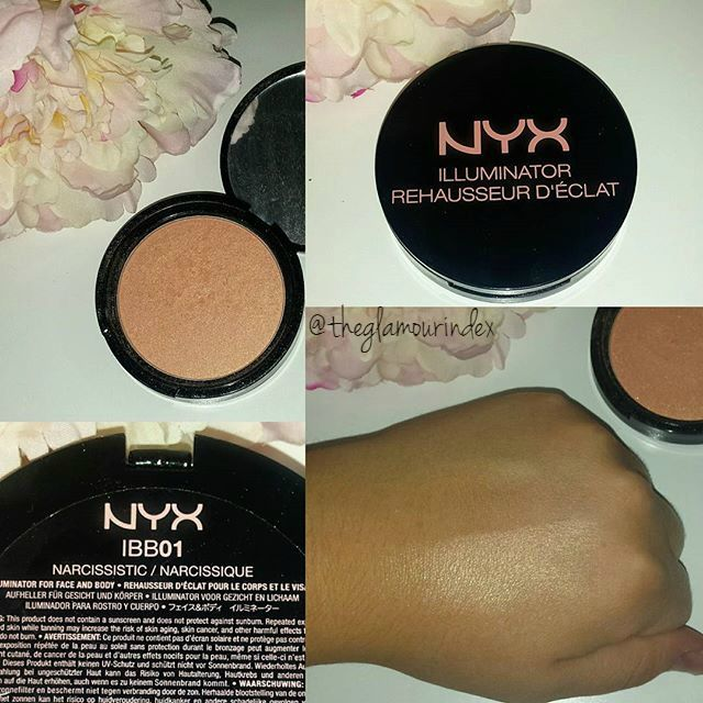 """NYX Illuminator in """"Narcissistic"""" is a beautiful golden peachy champagne highlight that gives a beautiful dewy luminosity to the skin. It doesn't swatch well though, so don't judge it by that."""