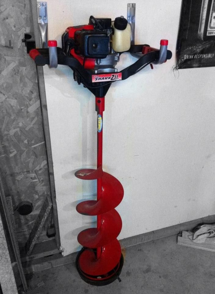 Ice auger storage ice fishing pinterest storage ice for Ice fishing augers