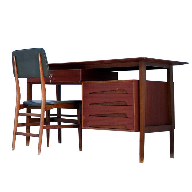 Italian Teak Wood Writing Desk with Chair by Vittorio Dassi, 1950s | From a unique collection of antique and modern desks and writing tables at https://www.1stdibs.com/furniture/tables/desks-writing-tables/