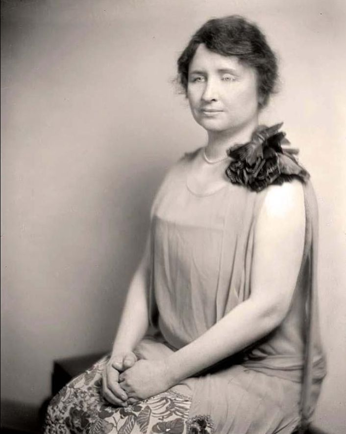 Helen Keller, an author, activist and lecturer. She was the first deaf and blind person to earn a Bachelor of Arts degree.