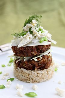Healthy Pilchard, Brown Rice and Crunchy Salad Stack for lunch?