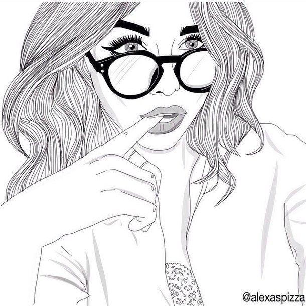 dessins de fille tumblr  | ... dessins, fille, filles, lunettes, cheveux, lèvres, pales, Tumblr