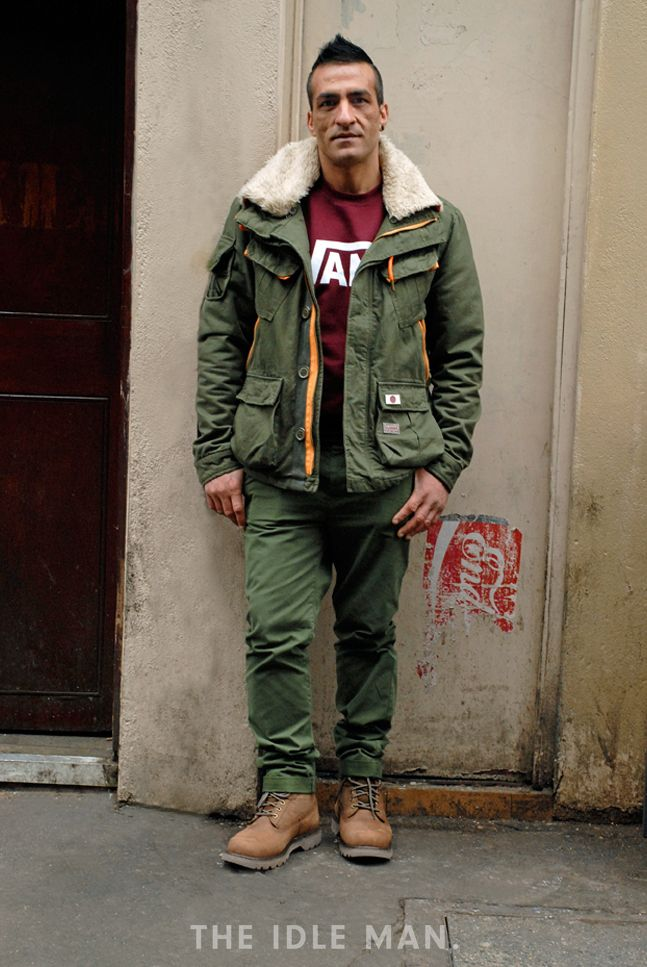 Same Same but Different | Love this khaki combo with a work pant and parka, add a bit of colour with a burgundy sweater and finish off with Timberlands. | Shop men's clothing at The Idle Man