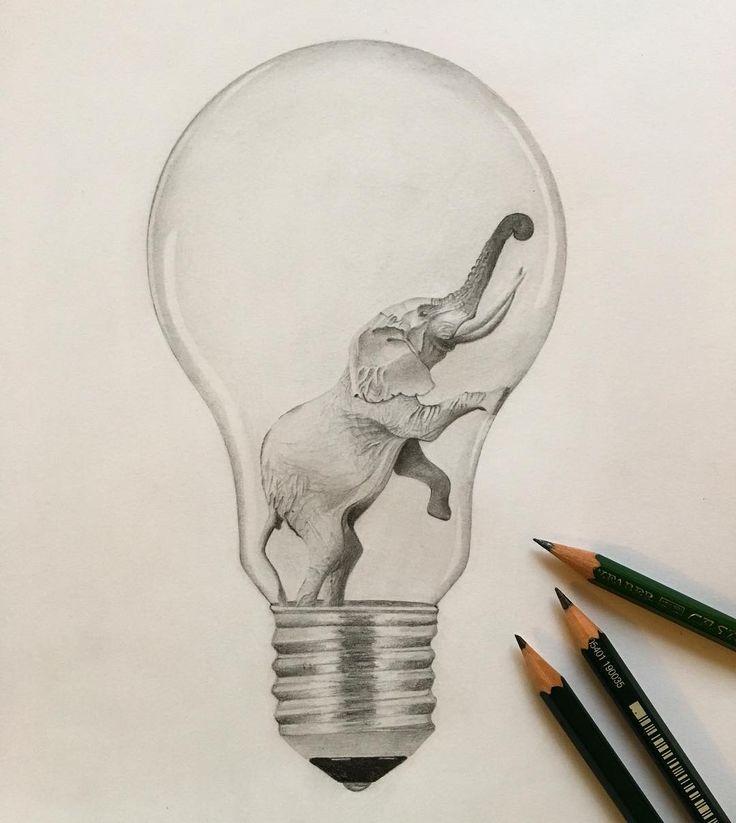 #elephant#lightbulb#glühbirne#idea#zeichnung#bleist...