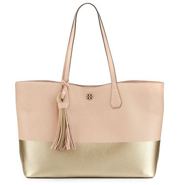 Perry colorblock leather tote bag by Tory Burch. ONLYATNM Only Here. Only Ours. Exclusively for You. Tory Burch colorblock leather tote bag. Flat top handles with han...