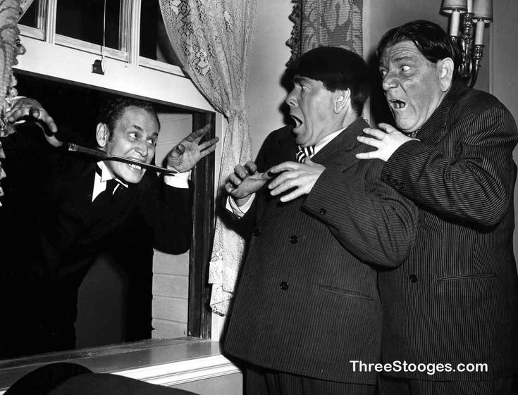 """""""What's the matter with him? I'm still in one piece."""" - Larry -  The Three Stooges scare comedy """"Dopey Dicks"""" was released on March 2, 1950."""